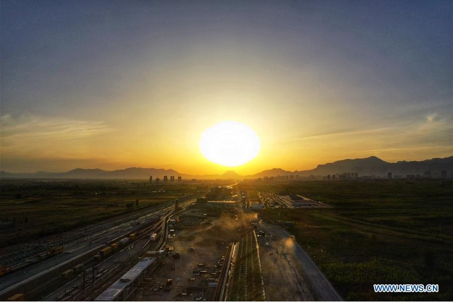 Aerial view of Huailai Station of Beijing-Zhangjiakou railway in Hebei