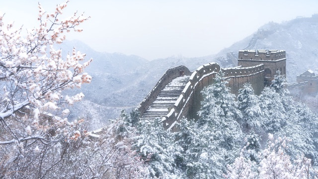 Snow scenery of Jinshanling Great Wall in China's Hebei Province