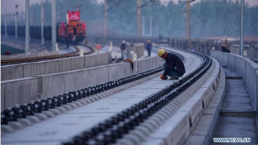Track-laying starts for Beijing-Xiongan intercity railway
