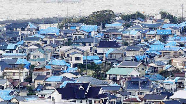 """台风""""法茜""""袭击日本 航拍受灾地区"""