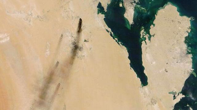 沙特石油设施遭无人机袭击卫星云图公布